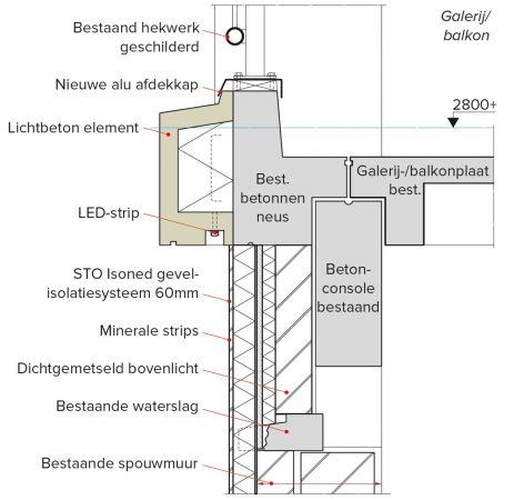 Een detail waarin te zien is hoe de LED-strip in de gevel van de Sterflats is verwerkt