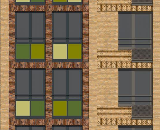 Impressie van een gevelfragment van het project De Kwekerij