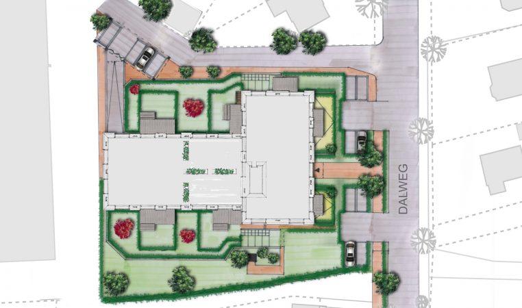 Impressie van de terreininrichting van het project Dalstaete