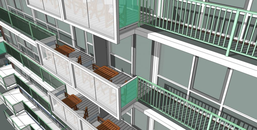 Impressie balkons project SBBS Honsbergen Soest