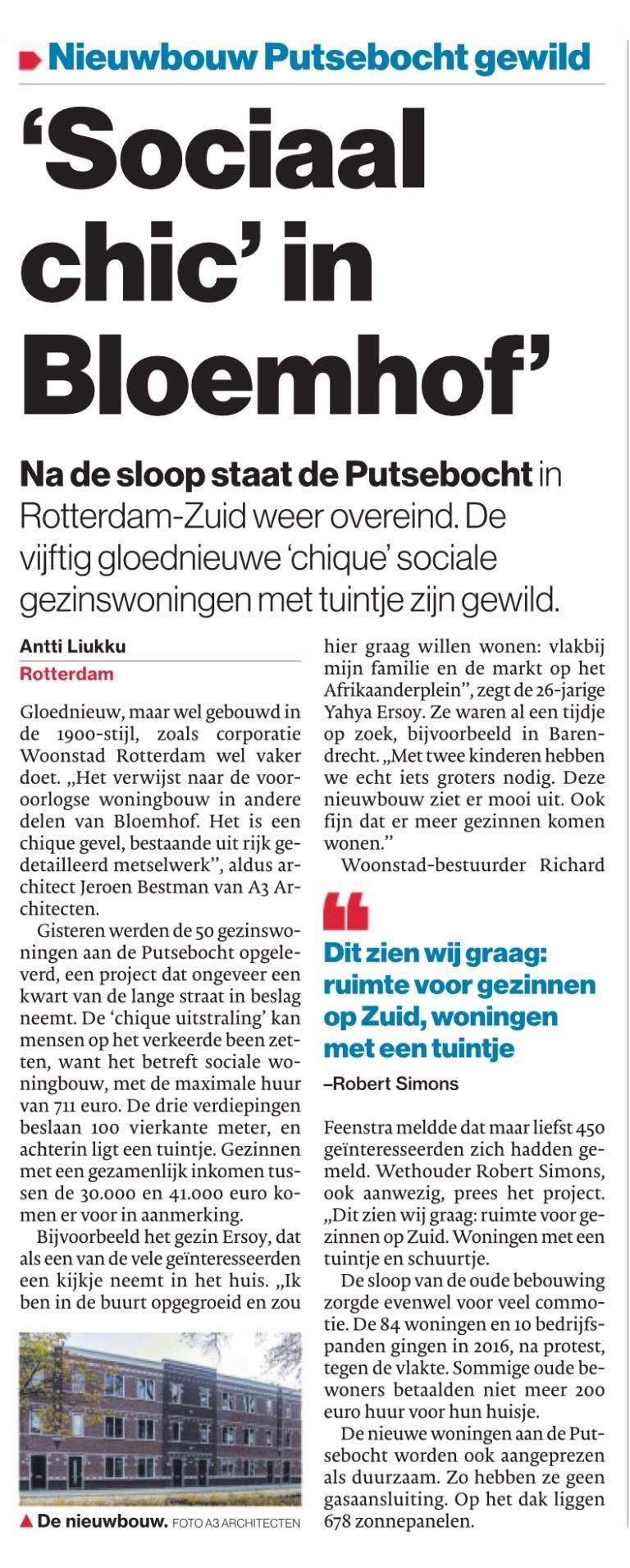 Publicatie Putsebocht in AD Rotterdam