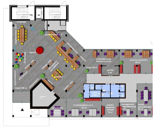 impressie plattegrond WBS Wassenaar